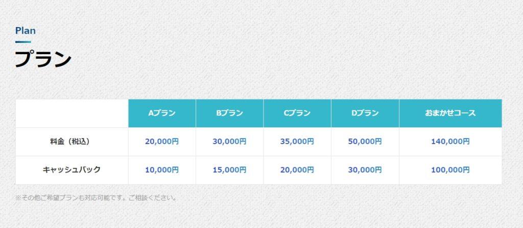 TSUKEの助(ツケのすけ)_料金表