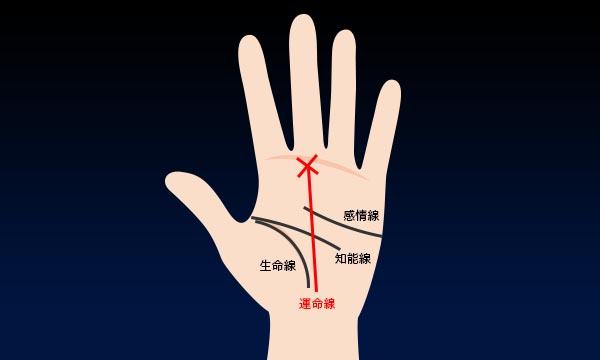 5.運命線の先にバツ印がある(中指の下)