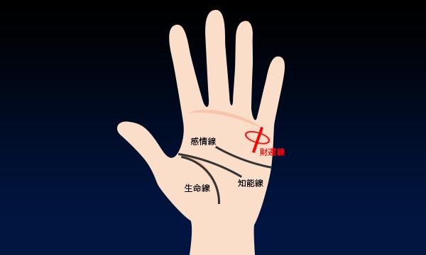 8.小指の付け根の線の上にマル印がある